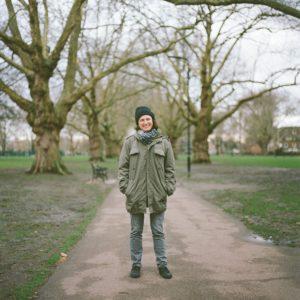Portrait of Alex in London Fields, London - taken with a Hasselblad medium-format film camera