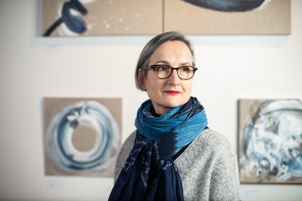 Headshot of artist at the Roy's People Art Fair, London